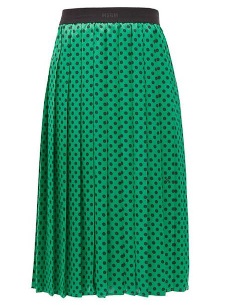 MSGM - Polka-dot Pleated Midi Skirt - Womens - Green