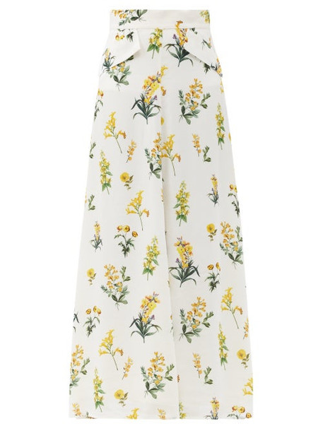 Goat - Lake Floral-print Poplin Maxi Skirt - Womens - White Multi