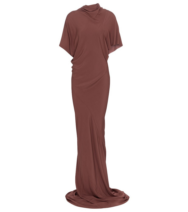 Rick Owens High-neck gown in brown