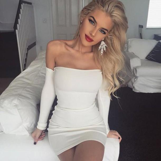 dress white off shoulder dresss