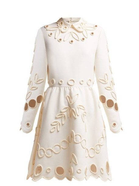 Valentino - Floral Piping Embellished Crepe Midi Dress - Womens - Ivory