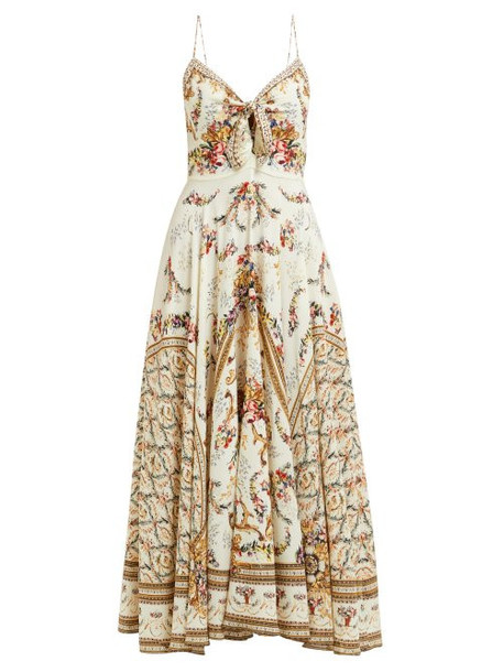 Camilla - Olympe Ode Print Silk Dress - Womens - White Print