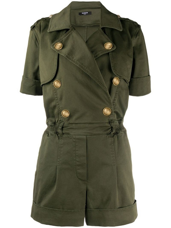 Balmain double-breasted short-sleeved playsuit in green