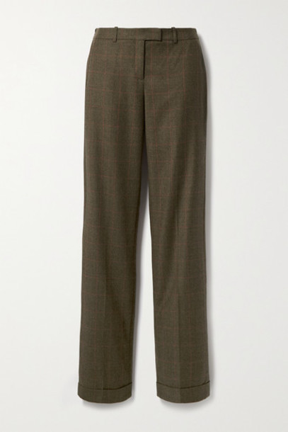 Michael Kors Collection - Checked Wool Straight-leg Pants - Army green