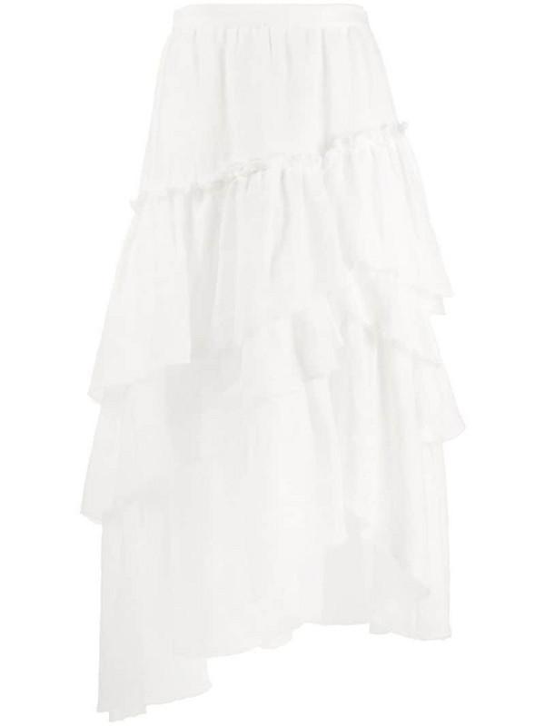 Ermanno Scervino ruffled asymmetric skirt in white