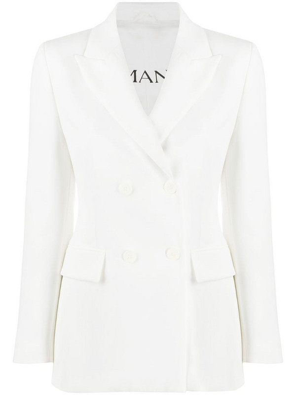 Ermanno Ermanno double-breasted fitted blazer in white