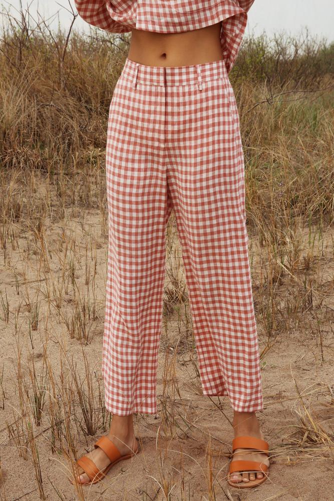 Mansur Gavriel Gingham Linen Straight Pant  - Blush