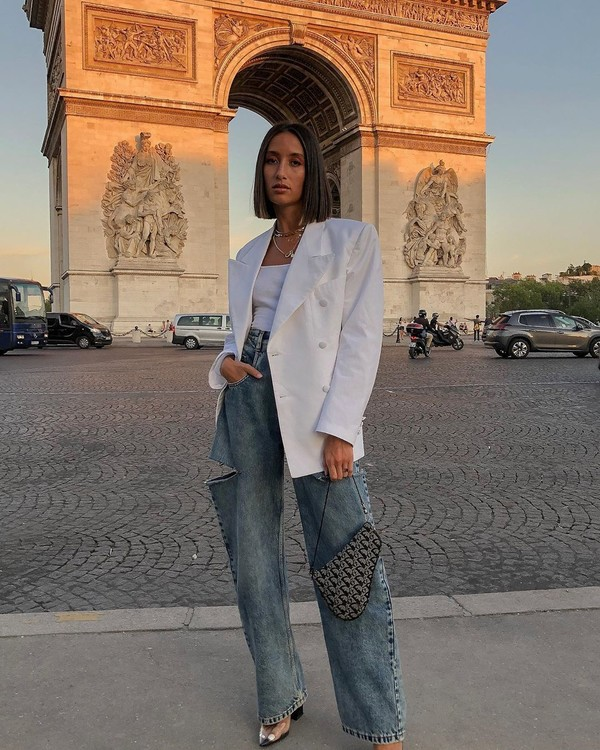 jeans high waisted jeans ripped jeans dior bag pumps white blazer double breasted white top