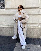 pants,white pants,sneakers,puffer jacket,long coat,white top,crop tops,fendi,bag