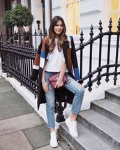 coat,long coat,multicolor,white sneakers,ripped jeans,ysl bag,white t-shirt