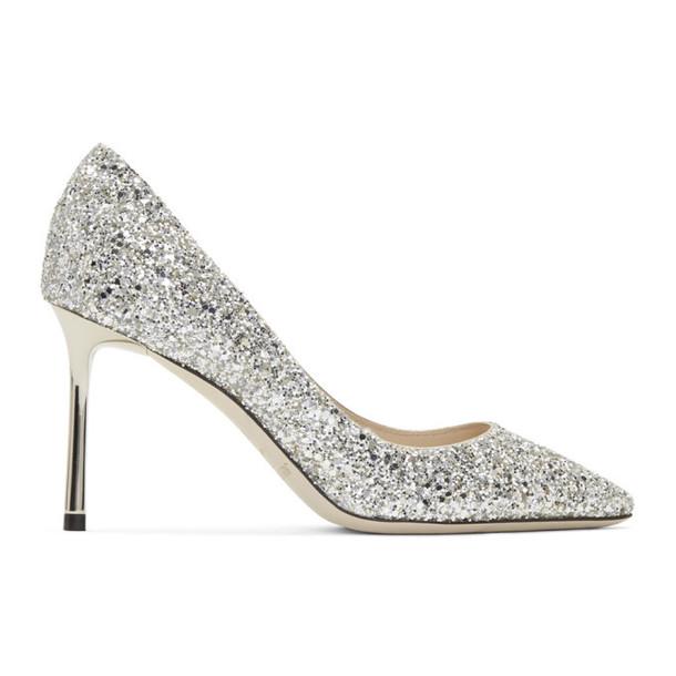 Jimmy Choo Silver Glitter Romy 85 Heels