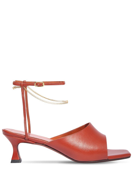 MANU ATELIER 50mm Athena Leather Sandals in red