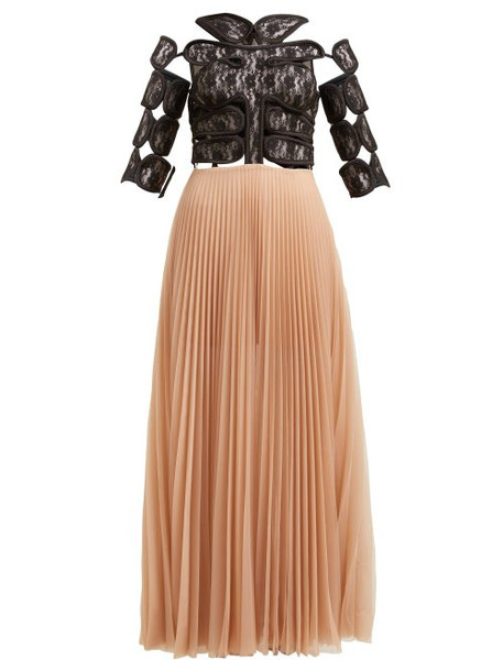 Christopher Kane - C String And Pleated Tulle Maxi Dress - Womens - Black Multi