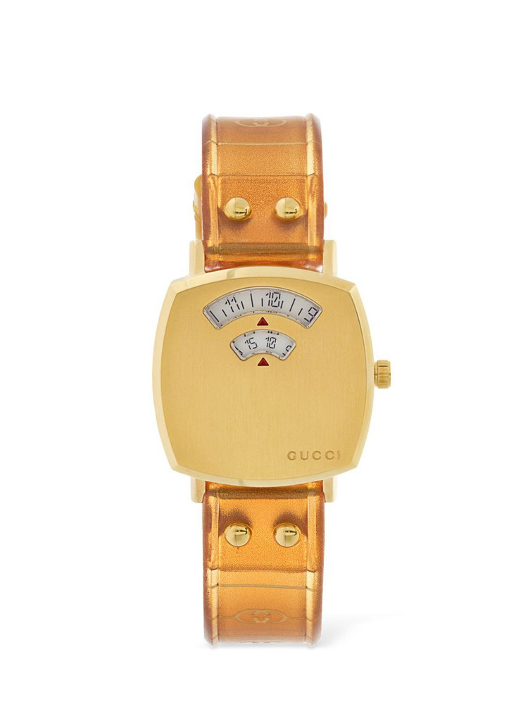 27mm Gucci Grip Watch W/ Rubber Strap in brown / gold