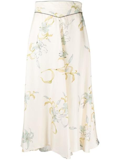 Forte Forte floral-print silk midi skirt in neutrals
