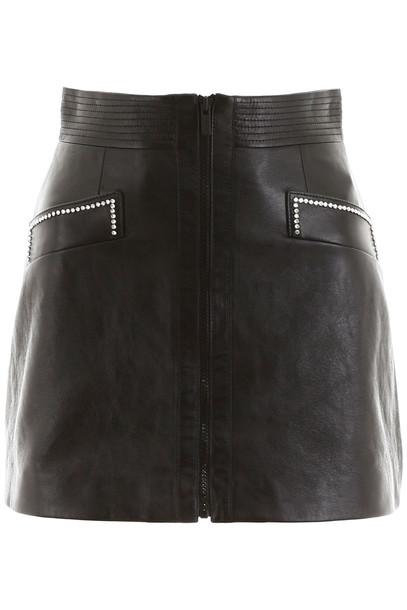 Miu Miu Leather Mini Skirt With Crystals in black