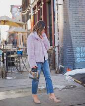 coat,faux fur coat,cropped jeans,straight jeans,pumps,handbag,pvc