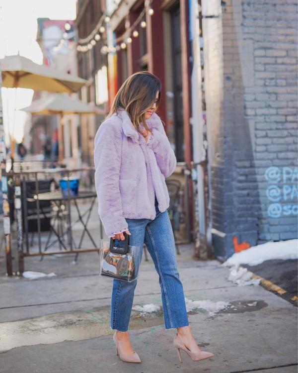 coat faux fur coat cropped jeans straight jeans pumps handbag pvc