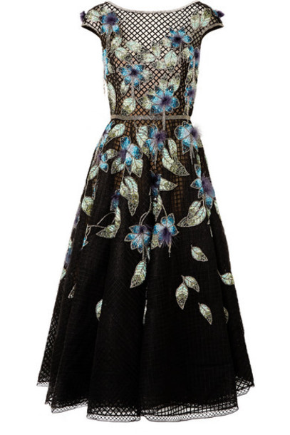 Marchesa - Feather-trimmed Embellished Tulle And Lace Gown - Black