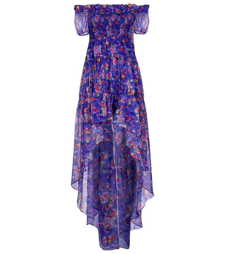 Caroline Constas Dora floral silk chiffon dress in blue