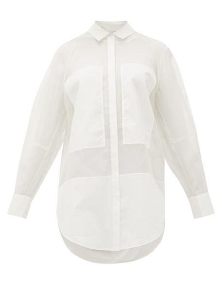 Lee Mathews - Callie Poplin-panel Organza Shirt - Womens - White