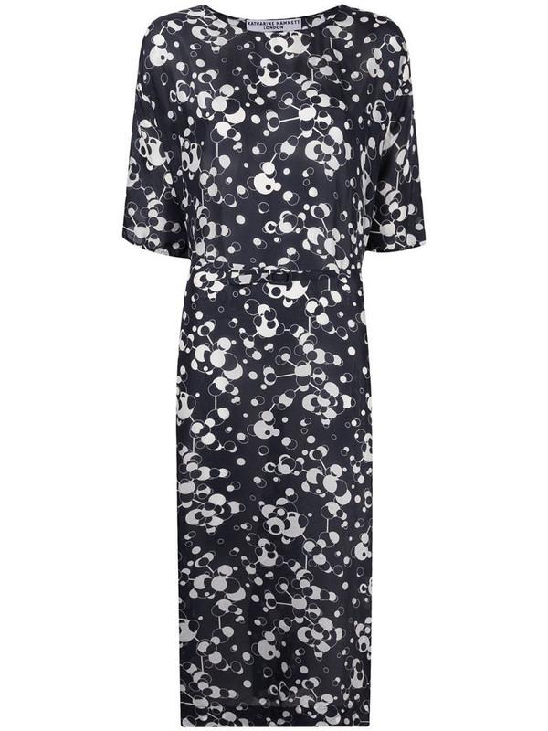 Katharine Hamnett London belted silk shift dress in blue