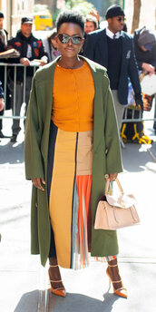 skirt,colorful,lupita nyong'o,celebrity,coat,pumps,midi skirt,top,spring,spring outfits