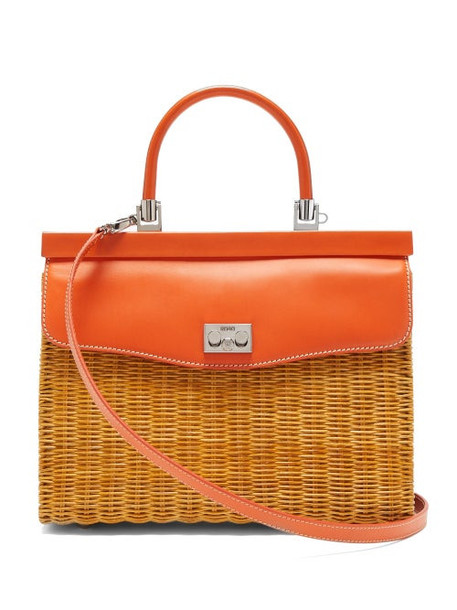 Rodo - Leather And Wicker Top Handle Bag - Womens - Orange