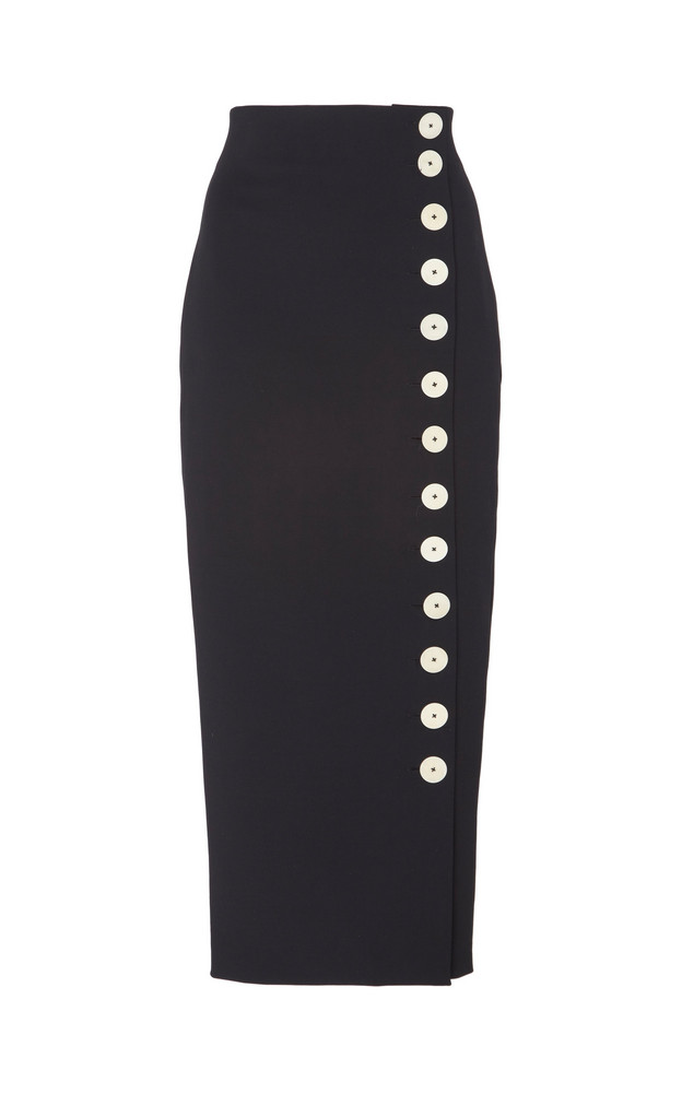 A.W.A.K.E. A.W.A.K.E. Button-Detailed Cotton-Blend Midi Skirt in black