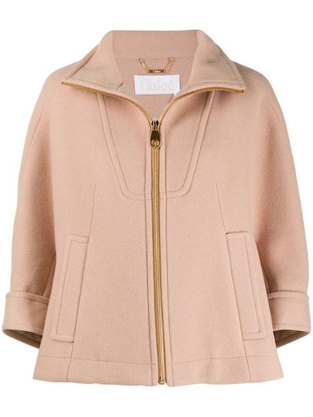 Chloé crop-sleeve panelled coat in brown
