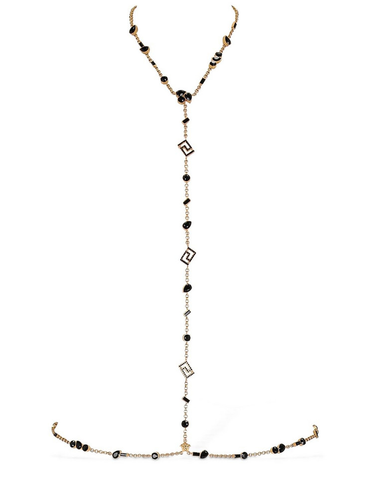 VERSACE Greek Motif Body Chain W/ Crystals in black / gold