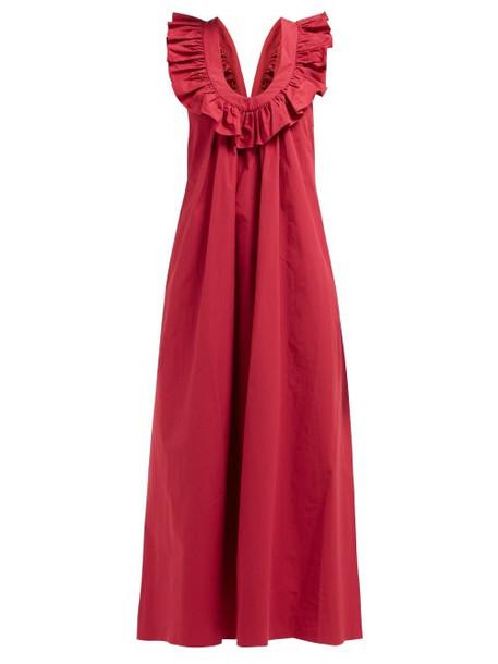 Three Graces London - Geraldine Ruffle Strap Cotton Poplin Dress - Womens - Red