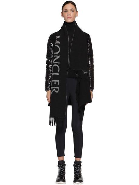 MONCLER Wool Cape Laqué Nylon Down Jacket in black / grey