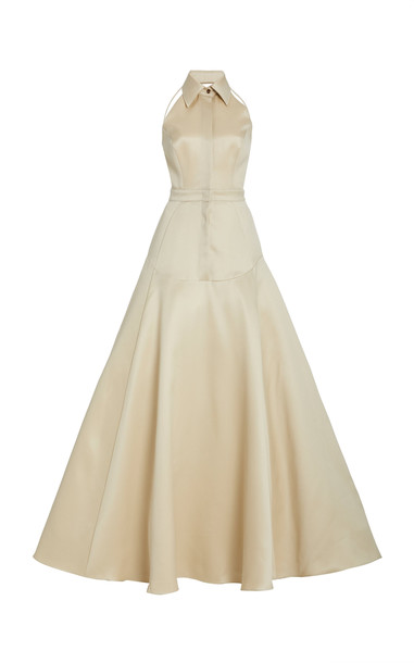 Brandon Maxwell Collared Wool Silk Gown in white