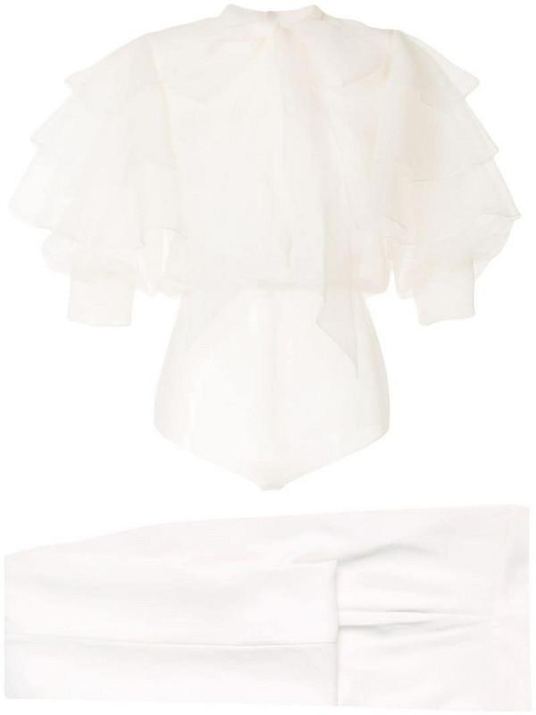 Saiid Kobeisy sheer ruffle detail blouse in white