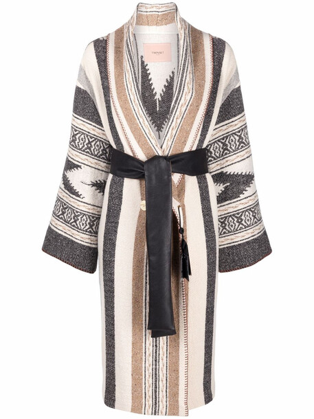 TWINSET striped oversized double-breasted coat - Neutrals
