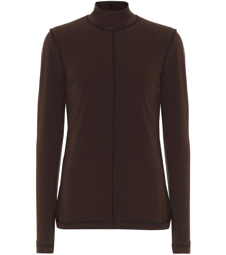 Ganni Stretch-cotton top in brown