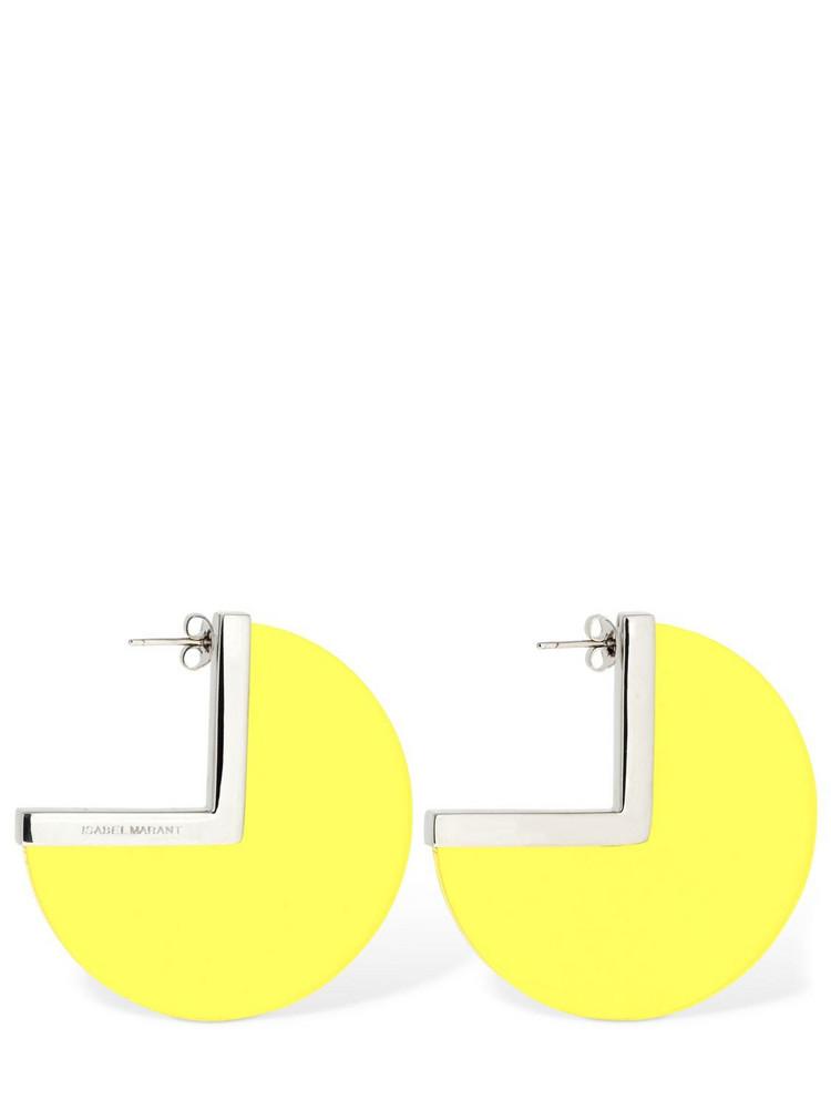 ISABEL MARANT New Asphalt Big Hoop Earrings in silver / yellow