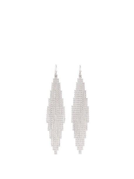 Saint Laurent - Smoking Crystal Embellished Mesh Earrings - Womens - Crystal