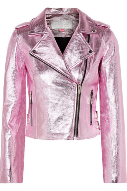The Mighty Company - The Lecce Metallic Crinkled-leather Biker Jacket - Pink