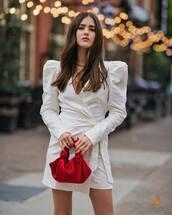 dress,white dress,mini dress,puffer sleeve,wrap dress,v neck dress,handbag