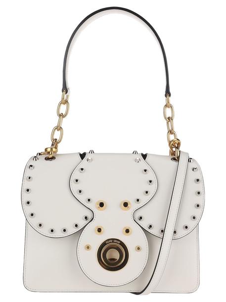 Miu Miu Miu Miu Studded Leather Shoulder Bag in white