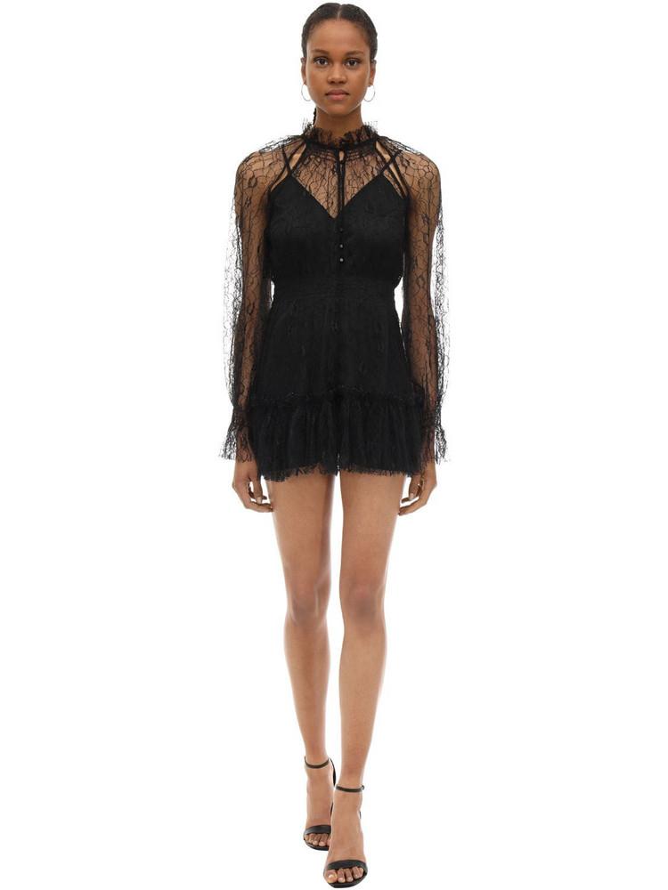 ALICE MCCALL Ruffled Lace Mini Dress in black