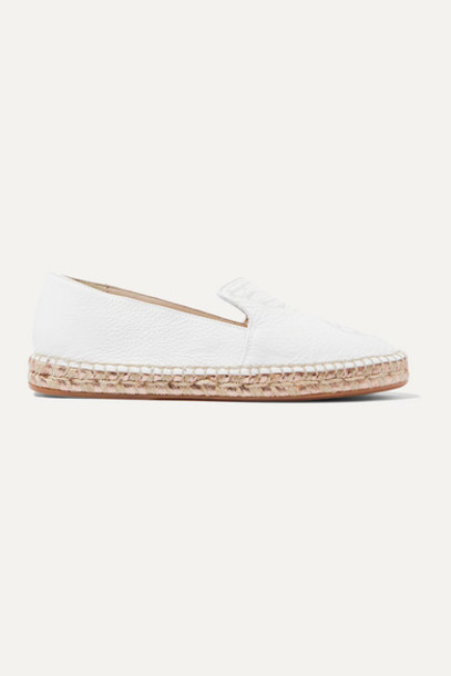 Sophia Webster - Butterfly Embroidered Textured-leather Espadrilles - White