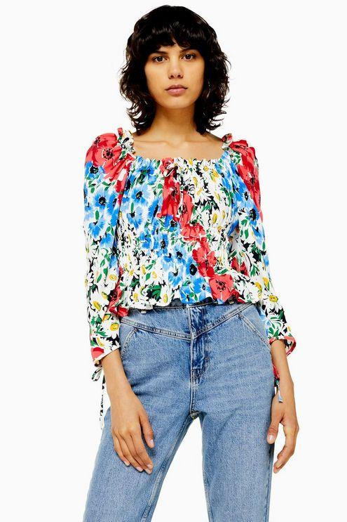 Vancouver Floral Ruched Prairie Blouse - Multi