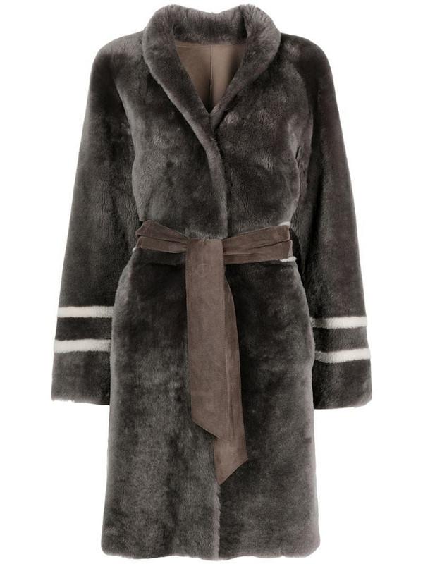 Suprema reversible wrap coat in grey