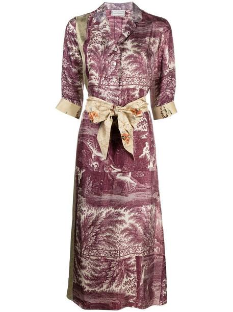 Pierre-Louis Mascia Aloe patchwork print shirt dress in purple