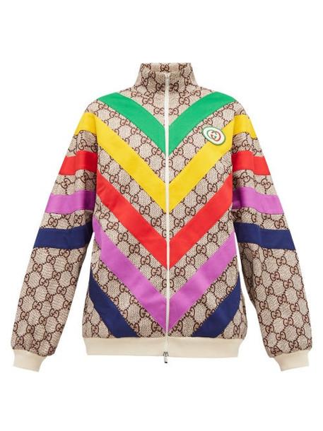 Gucci - Supreme Jacquard Rainbow Appliqué Track Jacket - Womens - Brown Multi