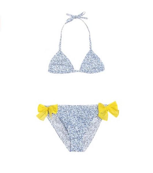 Il Gufo Floral cotton bikini in blue