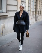 jacket,black blazer,oversized,black leggings,black top,black belt,white boots,ankle boots,brown bag,louis vuitton bag